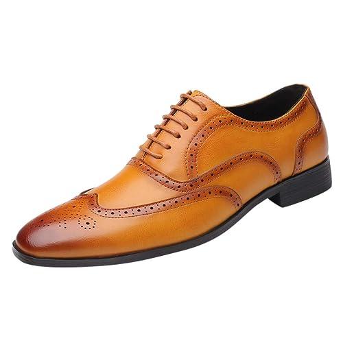 OHQ Zapatos Oxford Hombre,Cuero Derby Vestir con Cordones ...