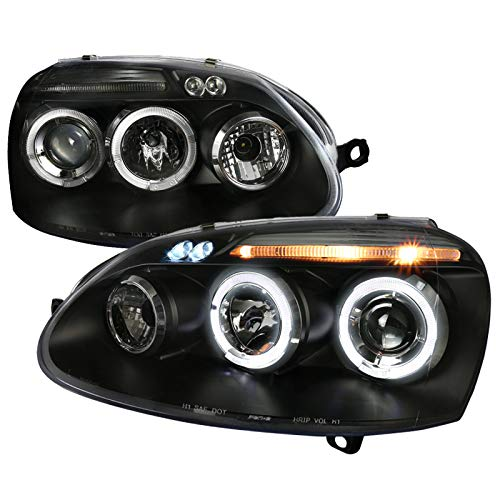 Velocity Concepts For Golf Rabbit Jetta Black Dual Halo Led Projector Head Lights - Golf Dual Halo Projector Headlights