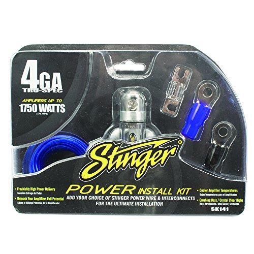 Amp Car Audio Stinger (Stinger SK141 1750-Watt 4-Gauge Car Audio Amplifier Accessory Kit)
