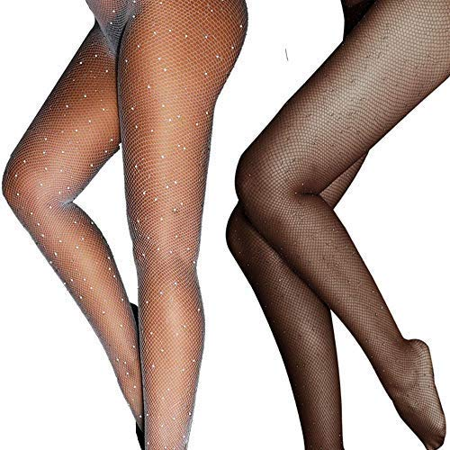 Lady Up Fishnet Pantyhose Glitter Net Tights Stockings for Women Black and White -
