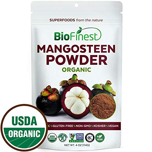 Biofinest Mangosteen Juice Powder - 100% Pure Freeze-Dried Antioxidants Superfood - USDA Organic Vegan Raw Non-GMO - Boost Digestion Heart Health - for Smoothie Beverage Blend (4 oz Resealable Bag)