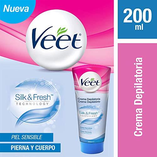 Crema Depilatoria Corporal,  Veet Silk & Fresh Para Piel Sensible, Tubo de 200 ml