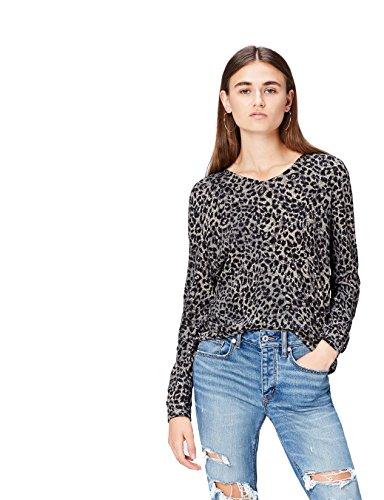 FIND Damen Langärmeliges T-Shirt mit V-Ausschnitt