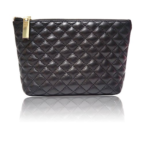 Quinn Luxurious Black Quilted Lambskin Cosmetic Make-up Bag ()