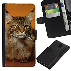 EuroCase - Samsung Galaxy Note 3 III N9000 N9002 N9005 - Maine coon cat orange house pet - Cuero PU Delgado caso cubierta Shell Armor Funda Case Cover