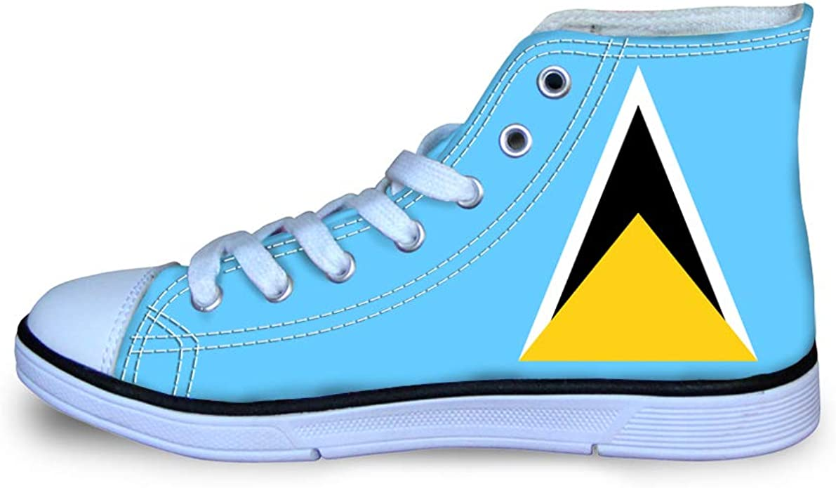 Canvas High Top Sneaker Casual Skate Shoe Boys Girls Saint Lucia Flag