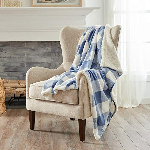 Home Fashion Designs Premium Reversible Two-in-One Sherpa and Sculpted Velvet Plush Luxury Blanket. Fuzzy, Cozy, All-Season Berber Fleece Throw Blanket. (Buffalo Check - Navy)