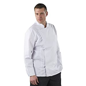 Label blouse Veste de cuisine Manches Longues Sergé 210 gramme Couleurs Blanc Pressions inoxydables Lavage Machine 90 degrés ou industriel