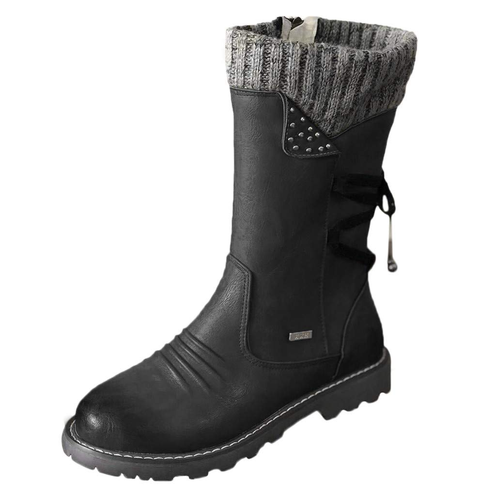 Fheaven Women's Winter Snow Boots Stacked Heel Zipper Buckles Strap Warm Ankle Mid Flat Top Knitted Boot Black by Fheaven-shoes