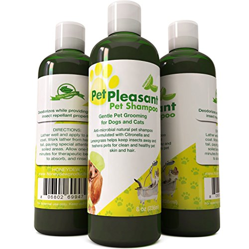 Natural Pet Shampoo for Dogs Puppies & Cat - Anti Itch Flea & Tick Repellent with Lemongrass & Citronella - Tear