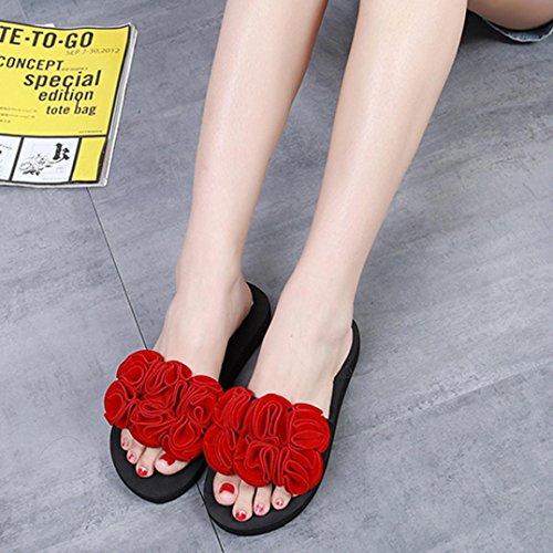 feiXIANG da Pantofola Alti Infradito Donna Rosso Donne Confortevoli Scarpe Sandali Ciabatte Fiore Tacchi Elegante da Spiaggia da Estate Sandali Sandali Donna Sexy dHwqad