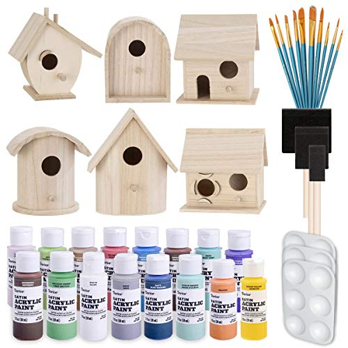 Birdhouse Craft Bundle - 6 Unfinished Wood Birdhouses (5-7 Inches), 16x 2-Ounce Acrylic Paints, Pixiss Nylon 10 Round and Pointed Brush Set, 3X Palettes