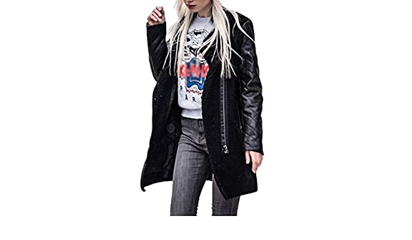Amazon.com: Tsmile Women Coat Clearance Fashion Zipper Leather Splice Jacket Casual Solid Color Slim Coats Winter Jackets Outwear: Clothing