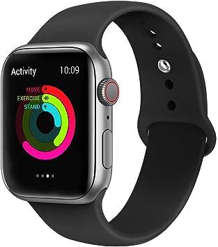 Image of VIKATech Correa de Repuesto Compatible con Apple Watch de 40 mm 38 mm, Correa de Silicona Suave de Repuesto para iWatch Series 4/3/2/1, S/M, Black