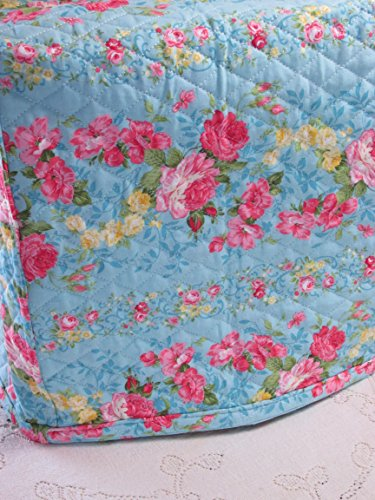 KitchenAid Mixer Cover - Shabby Chic Blue & Pink Roses Design with Floral Reverse - Reversible Quilted Kitchen Appliance Dust Cover - Size and Pocket Options