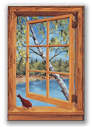 Stupell Home Décor Decorative Faux Window Scene, Wood Cabin And Cardinal, 22 x 0.5 x 33, Proudly Made in USA made in New England