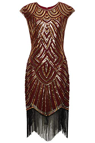 BABEYOND Women's Flapper Dresses 1920s Beaded Fringed Great Gatsby Dress (WineRed Gold, XXXL)]()