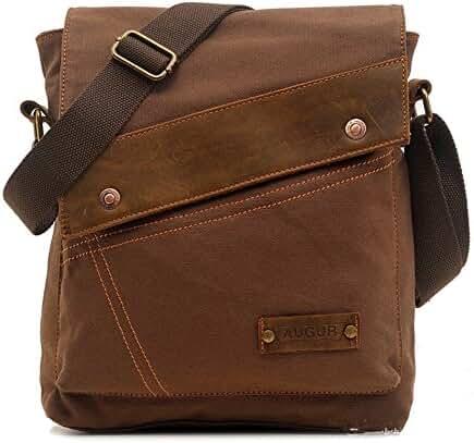 Sechunk Cotton Canvas Leather Messenger bags Shoulder Bag