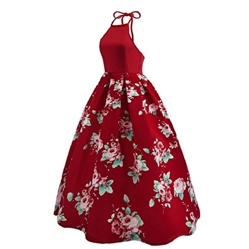 Maxikleid Sommerkleid Cocktailkleid Blumenmuster Abendkleid Paolian Frauen Partykleid Strandkleid Elegant Wein Kleid Ärmelloses Langes