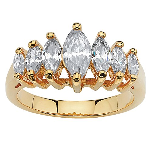 Palm Beach Jewelry 18K Yellow Gold Plated Marquise Cut Cubic Zirconia Graduated Anniversary Ring Size 7