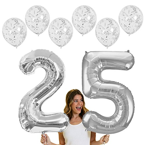 RhinestoneSash 34 inch Giant Silver 25 Foil Mylar Balloon & Set of 6 Matte Silver Confetti Clear Balloons - Silver Anniversary or 25th Birthday Decorations (Silver) Baln(25 Confetti) SLV -