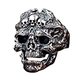 Gothic Black 925 Sterling Silver Skull Head Open Ring with Dragons for Men Boys Adjustable Size 8.5-11