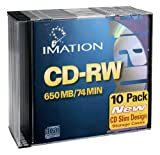 Imation IMN40955 CD Rewritable Media, CD-RW, 4x, 700 MB, 10 Pack Slim Jewel Case, Retail