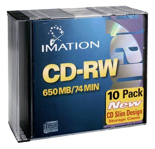 Imation IMN40955 CD Rewritable Media, CD-RW, 4x, 700 MB, 10 Pack Slim Jewel Case, Retail