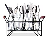 Home Basics MJ45574 3 Piece Cutlery Caddy Mason Jar Set, One Size, Multicolored