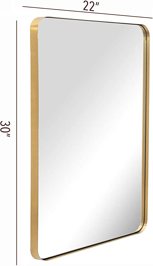 Amazon Com Bathroom Wall Mirror With Metal Frame Gold 22x30x1 Rounded Corner Rectangle Stainless Steel Frame Wall Mounted Mirror Hangs Horizontal Or Vertical For Bathroom Entry Vanity Room Home Kitchen
