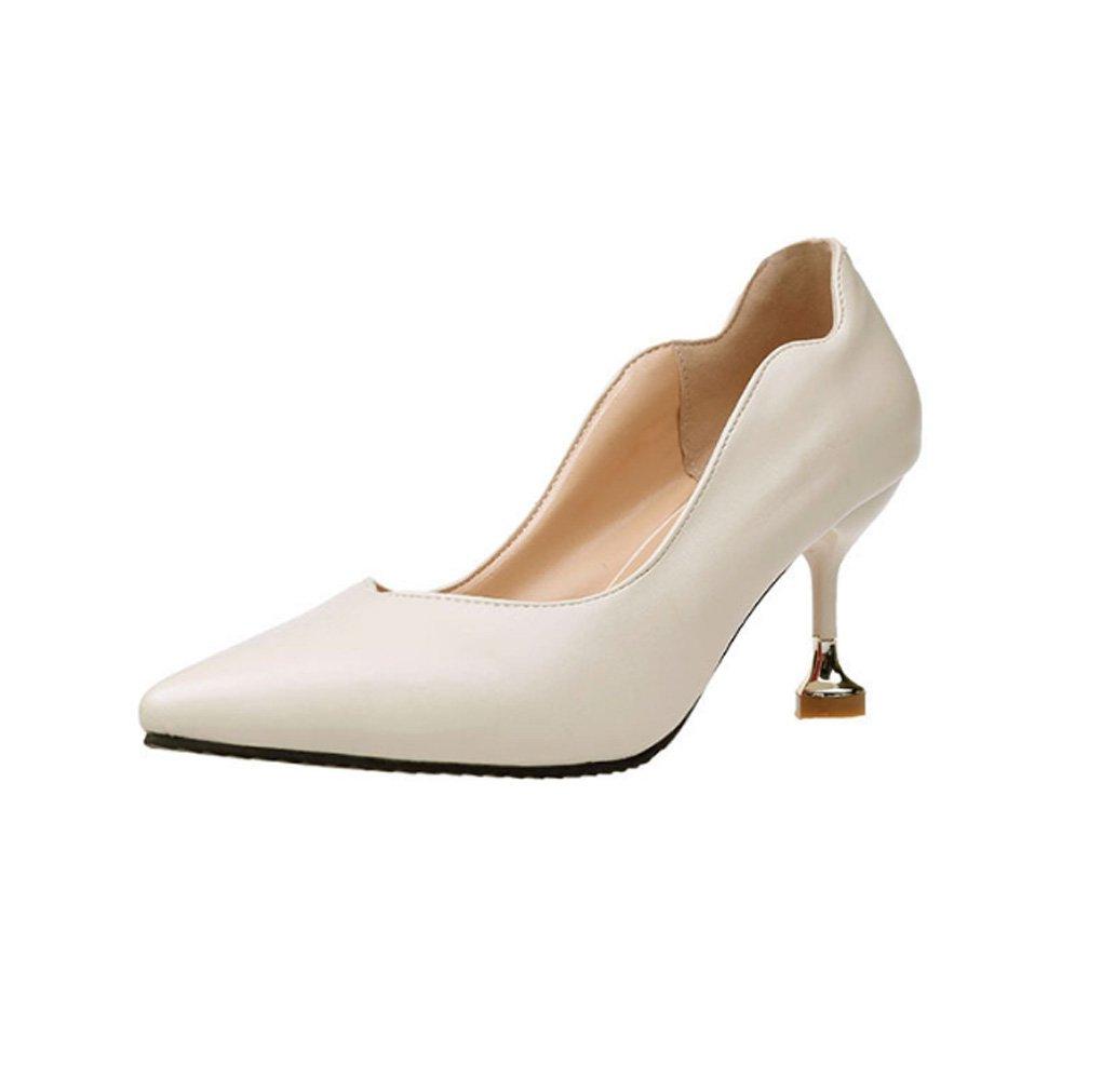 LBDX Versión Coreana Tacones Altos Hembra Tacón Fino Acentuado Boca Baja Otoño Zapatos Individuales 34 EU|Beige