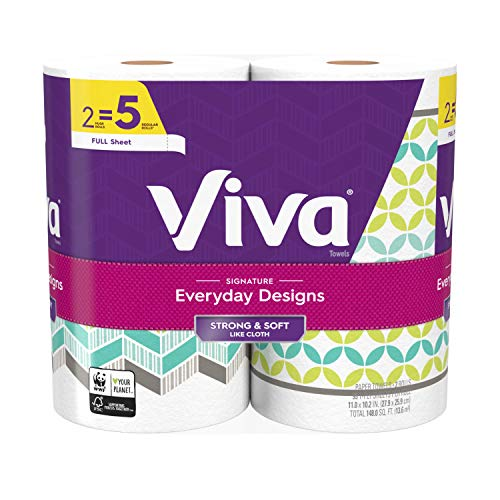 Viva Signature Everyday Designs Full Sheet Paper Towels, Printed Paper Towels, 8 Packs of 2 Huge Rolls, 16 Total Rolls (95 sheets per roll)