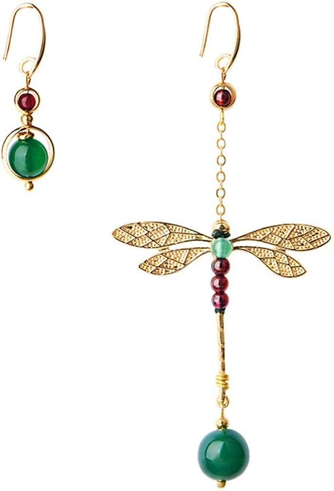 FENICAL pendientes de moda pendientes de libélula de ágata creativa pendientes asimétricos de gota 1 par