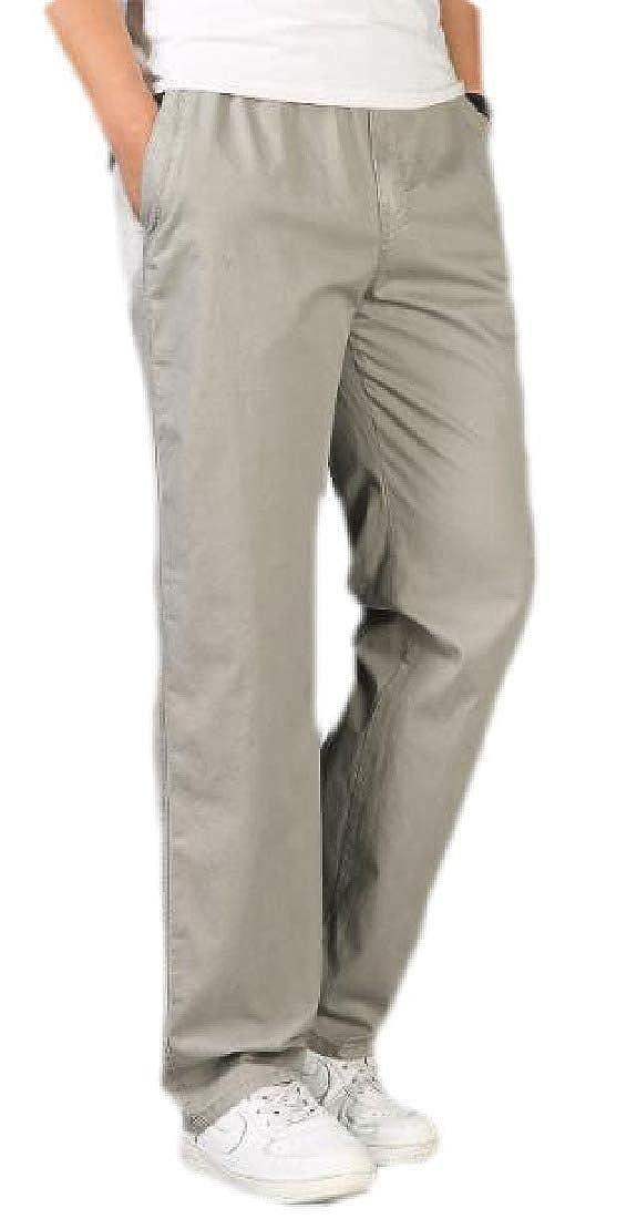pipigo Mens Casual Plus Size Solid Cotton Elastic Waist Straight Leg Pants Trousers 1 2XL