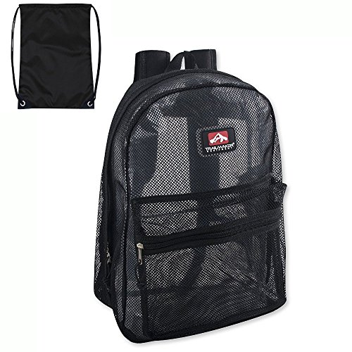 - Trailmaker Classic Mesh Backpack - (17 Inch) with FREE Drawstring Bag. By Bell Pass Ventures (Black)
