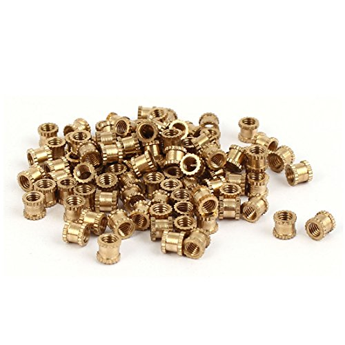 Uxcell a16041800ux0833 M3 x 4mm x 4.3mm Brass Knurled Threaded Round Insert Embedded Nuts 100PCS