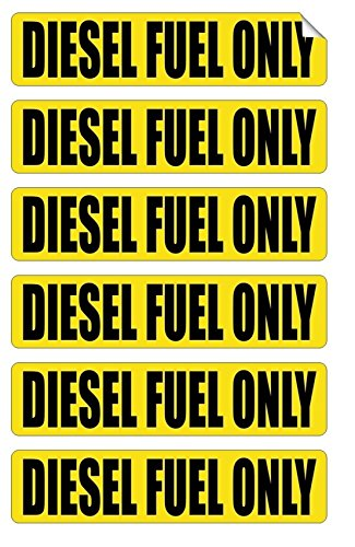 6-Pc Leading Popular Diesel Fuel Only Car Sticker Sign Oil Decals Gas Labels Safety Vinyl Size 3/4