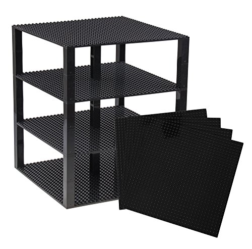 Strictly Briks Classic Baseplates 10 x 10 Brik Tower 100% Compatible with All Major Brands | Building Bricks for Towers and More | 4 Black Stackable Base Plates & 30 Stackers