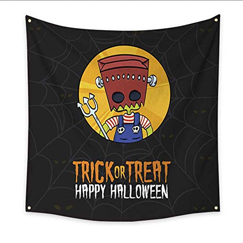 Warm Family Landscape Tapestry Halloween Trick or Treat Monster Costume Blanket Home Room Wall Decor 47W x 47L Inch