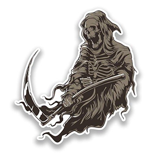 2 x 20cm/200mm Death Vinyl Stickers Halloween Scary #7187