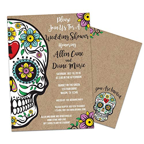 Sugar Skull Bridal Shower Invitations Kraft Floral Wedding Shower Invite