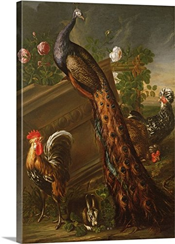 gallery-wrapped-canvas-entitled-peacock-and-cockerels-by-david-de-koninck