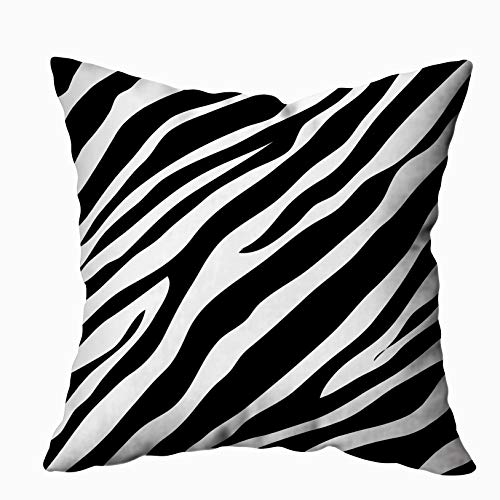 ROOLAYS Decorative Throw Square Pillow Case Cover 20X20Inch,Cotton Cushion Covers Zebra Animal Print Pattern Image Illustration Both Sides Printing Invisible Zipper Home Sofa Decor Pillowcase