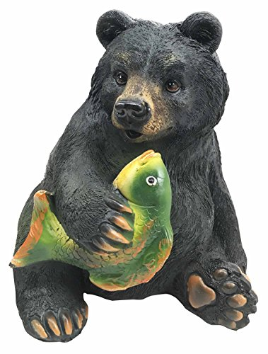 Wildlife Rustic Adorable Honey Black Bear Catching River Fish Money Coin Bank Figurine Statue Great Gift For Nature Lovers Children Forest Collectible Decor (Bank Bear)