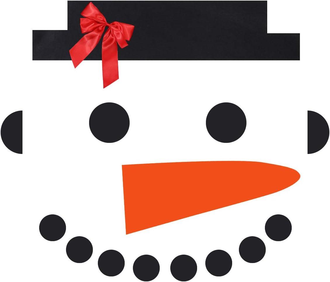 Amosfun 16 Pcs Snowman Wall Decor Christmas Winter Wall Decal Art DIY Snowman Vinyl Face with Carrot Noses