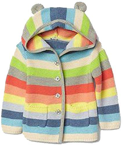 BabyGap Baby Gap Girls Crazy Stripe Bear Hoodie Cardigan Sweater 18-24 Months (Baby Gap Bear)
