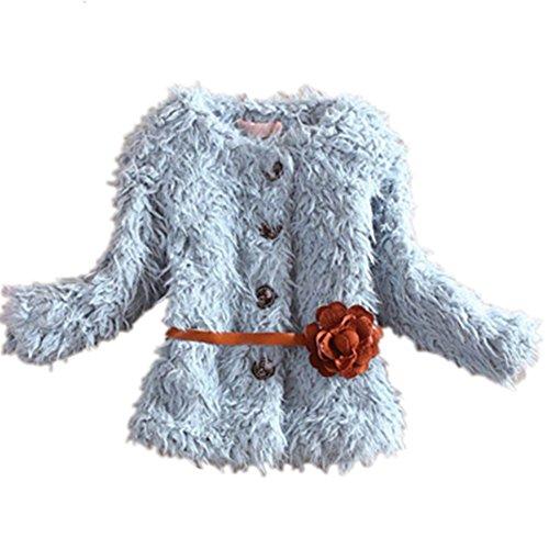 Kids Baby Girls Lovely Flower Belt Faux Fur Warm Fleece Jacket Coat Outerwear (130 ( 5-6Years), blue)