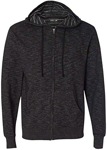 Joe's USA Baja Stripe French Terry Hooded Full-Zip Sweatshirt-Baja.Black-S (Full Zip Terry Shirt)