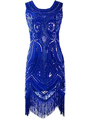 [PrettyGuide Women 1920's Vintage Beads Sequin Art Deco Paisley Flapper Party Dress Blue S] (Blue Flapper Dress)