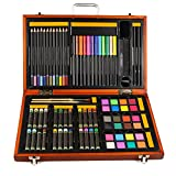 JIANGXIUQIN Artist Art Drawing Set, Art Craft Storage 76 Pieces - Luxury Super Wooden Box Art, Painting and Drawing Set, Sketch, Coloring, Children's Rich Imagination Gifts for Children and Children.